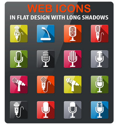 microphone icon set vector image vector image