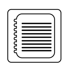 monochrome contour square with spiral notebook vector image