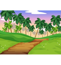 Nature scene with trail over the hills vector image vector image