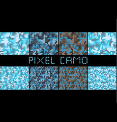 Pixel camo seamless pattern big set urban blue vector