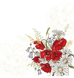 Poppy flowers vector