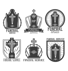Set funeral service logos badges emblems vector