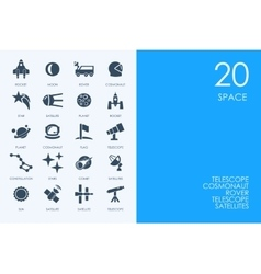 Set of blue hamster library space icons vector