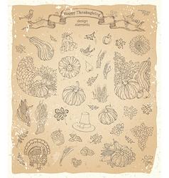 Set of vintage thanksgiving design elements vector