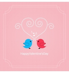Valentines day card with birds background vector image