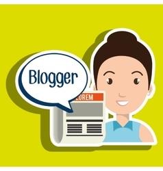 Woman cartoon blogger web vector