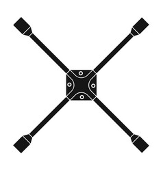 Wrench for wheel single icon in black style for vector