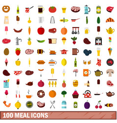 100 meal icons set flat style vector