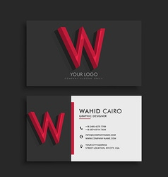 Clean dark business card with letter w vector