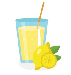 Lemon juice lemonade in a glass fresh isolated vector