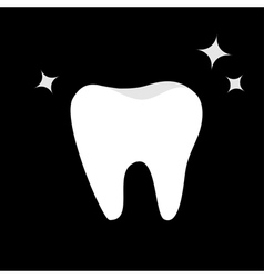 White tooth icon healthy tooth shining star oral vector