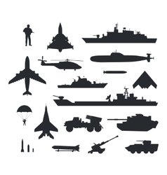 Set of Military Armament Silhouettes vector image