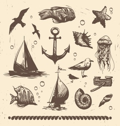 Vintage sea set vector