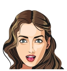 sexy girl face hairstyle model beautiful vector image