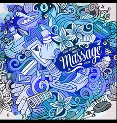cartoon cute doodles hand drawn massage vector image