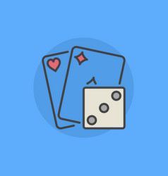 Two playing cards with dice icon vector