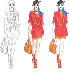 Fashion girl top model vector