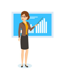 Woman shows on stand schedule and statistics vector