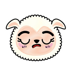 isolated cute sheep face vector image