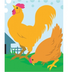 Cock and hen vector