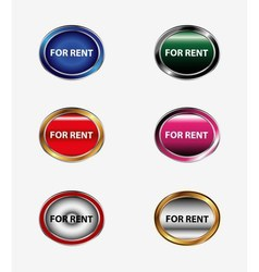 For rent sign button set vector
