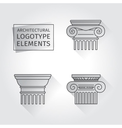 Linear icons columns flat with long shadows vector