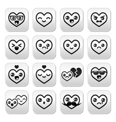 Kawaii hearts valentines day cute buttons vector