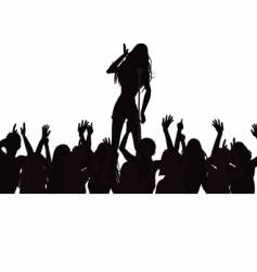singer and crowd silhouette vector image