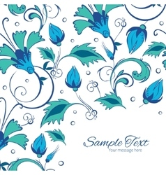 Blue green swirly flowers frame corner vector