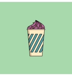 Blueberry ice-cream in cup with sprinkling vector