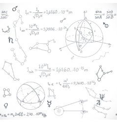 Seamless pattern of the formulas on the astronomy vector