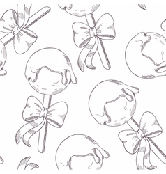 Outline cake pops with bow seamless pattern vector image