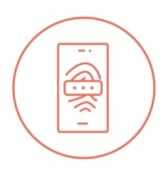 Mobile phone scanning fingerprint line icon vector