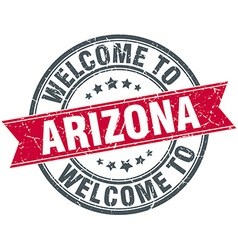 Welcome to arizona red round vintage stamp vector
