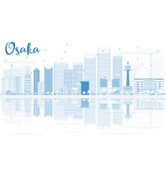 Outline osaka skyline with blue buildings vector