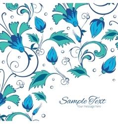 Blue green swirly flowers frame corner vector