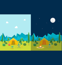 cartoon camping day and night view vector image
