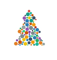 color flat confetti christmas tree vector image