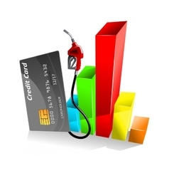 Credit card with decreasing chart vector