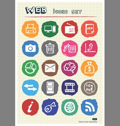 Doodle Internet and finance icons vector image vector image
