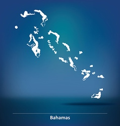 Doodle map of bahamas vector