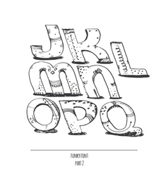English hand drawn funky font from j to q vector image vector image