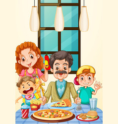 family having pizza for dinner vector image