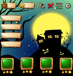Game template with halloween background vector image vector image