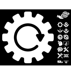 Gearwheel rotation icon with tools bonus vector