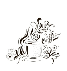 Hand Drawn Coffee Cup with Floral Design Sketch vector image vector image