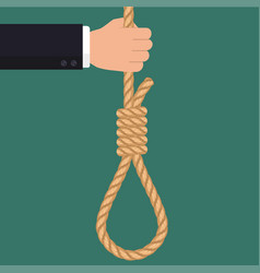 hand with rope hanging loop businessman suicide vector image