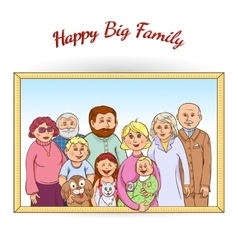 Happy family framed portrait vector
