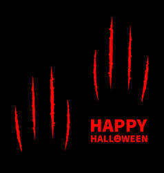 happy halloween pumpkin text two red bloody claws vector image