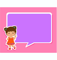 Happy little girl kid with empty speech bubble vector